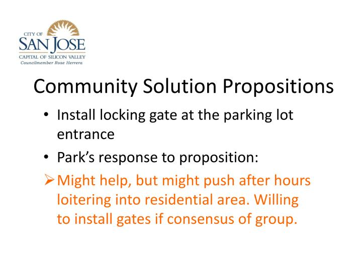 Community Solution Propositions