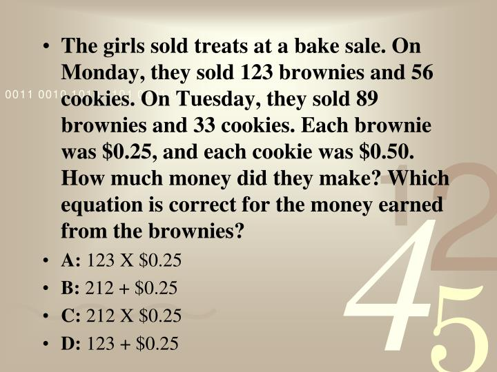The girls sold treats at a bake sale. On Monday, they sold 123 brownies and 56 cookies. On Tuesday, ...
