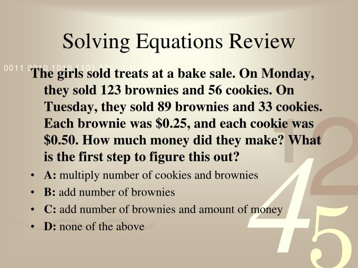 Solving equations review