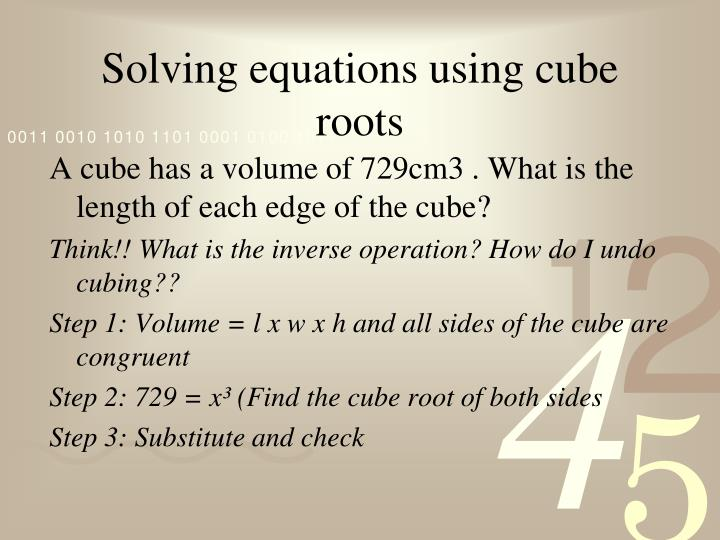 Solving equations using cube roots
