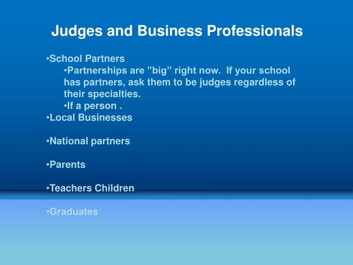 Judges and Business Professionals