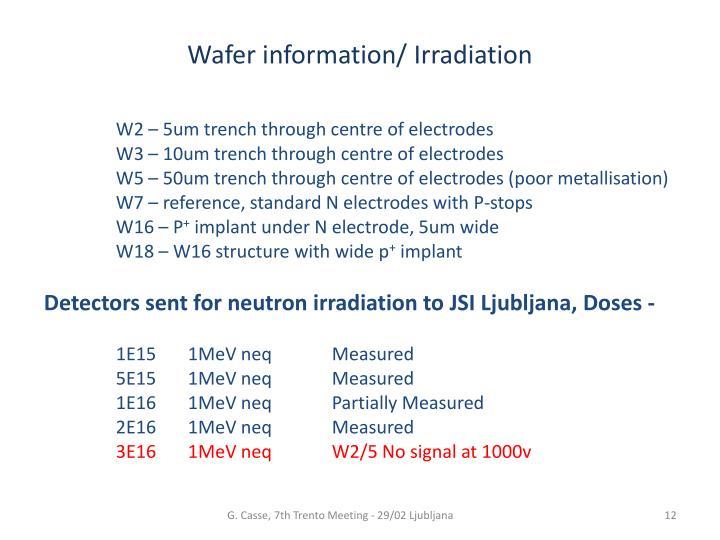 Wafer information/ Irradiation