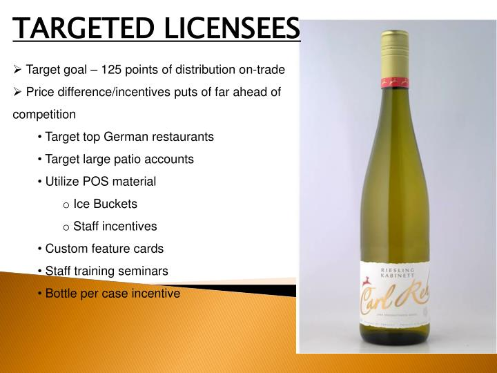TARGETED LICENSEES
