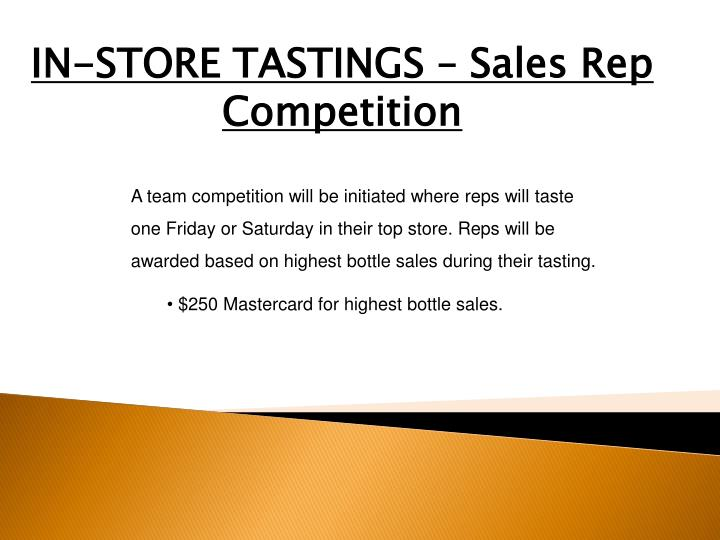 IN-STORE TASTINGS – Sales Rep Competition
