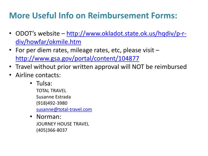 More Useful Info on Reimbursement Forms: