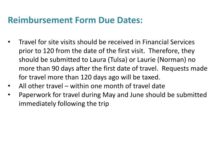 Reimbursement Form Due Dates: