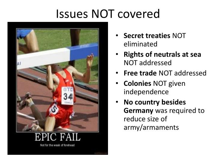Issues NOT covered