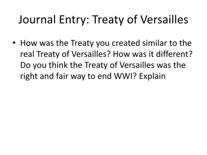 Journal Entry: Treaty of Versailles