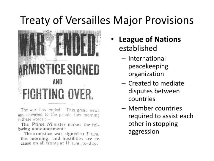 Treaty of Versailles Major Provisions