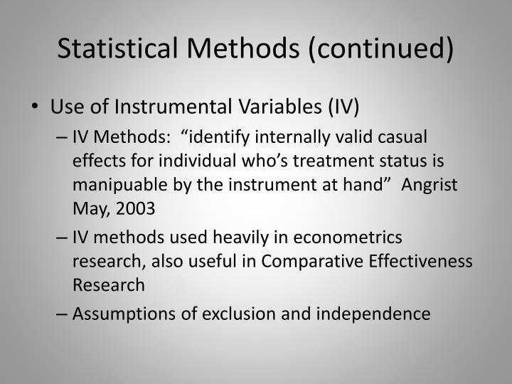 Statistical Methods (continued)