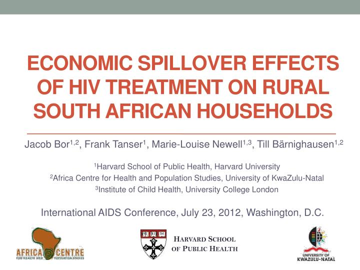 Economic spillover effects of hiv treatment on rural south african households