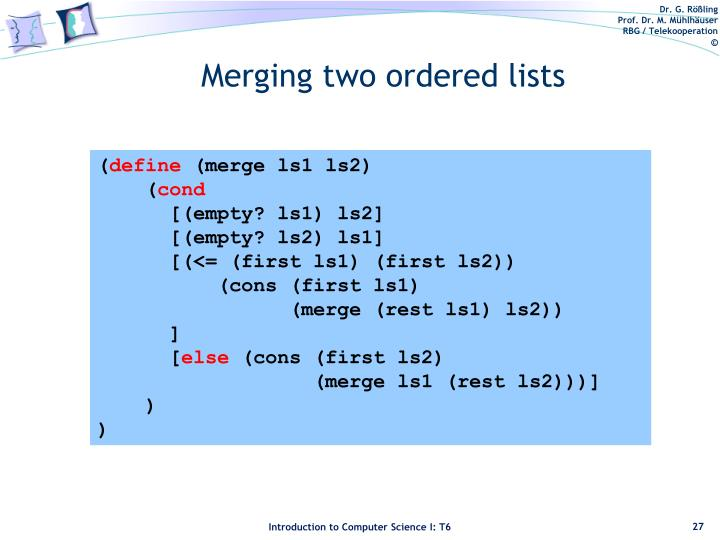 Merging two ordered lists