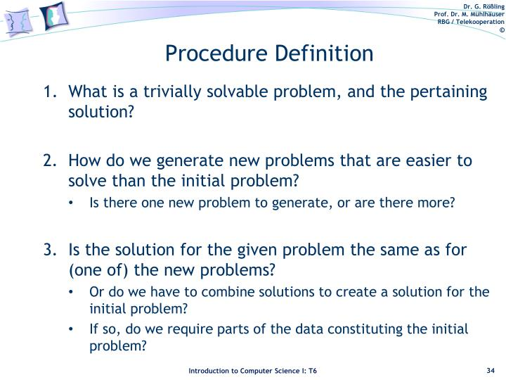 Procedure Definition