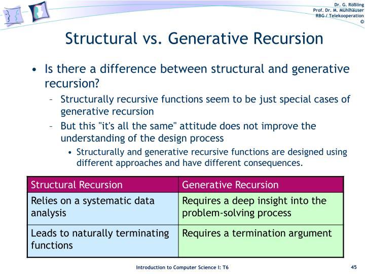 Structural vs. Generative Recursion