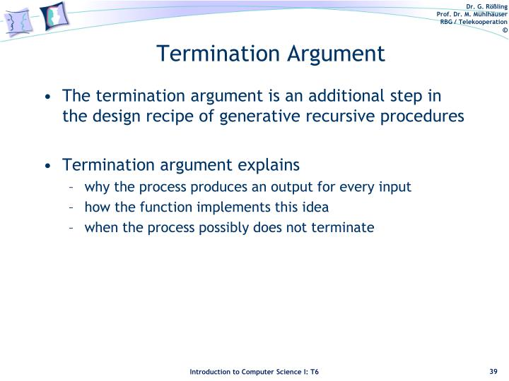 Termination Argument