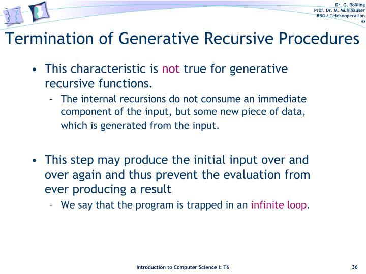 Termination of Generative Recursive Procedures