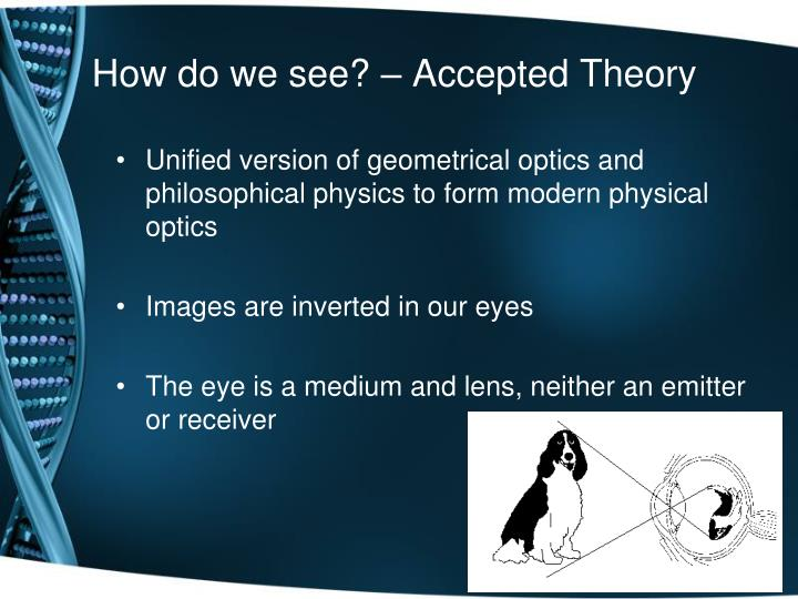 How do we see? – Accepted Theory
