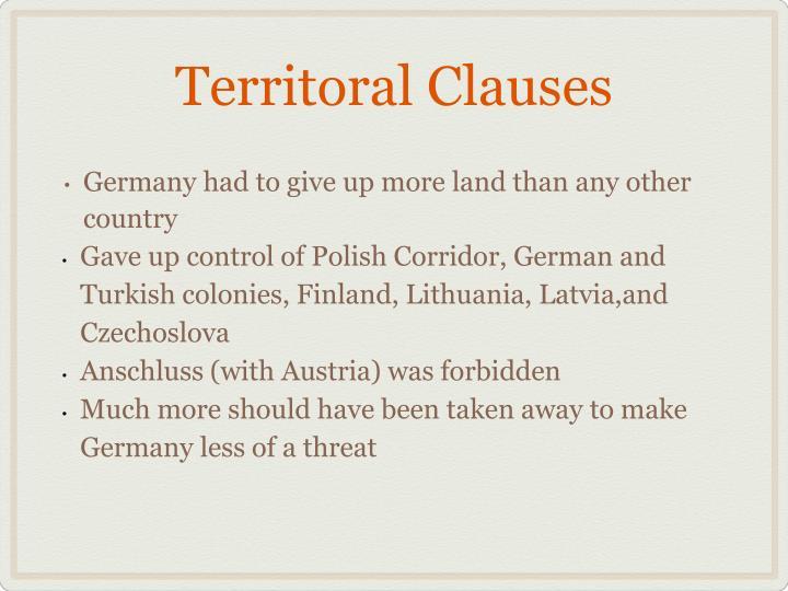 Territoral Clauses