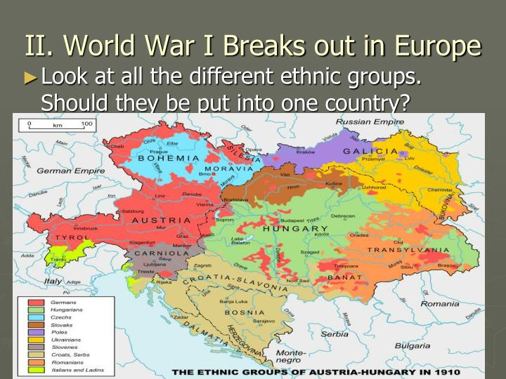 II. World War I Breaks out in Europe