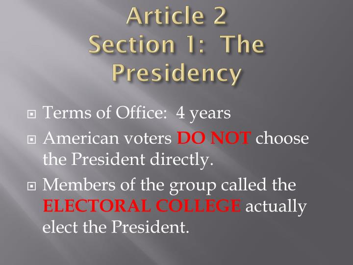 Article 2 section 1 the presidency