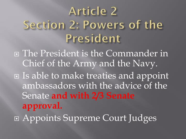 Article 2 section 2 powers of the president