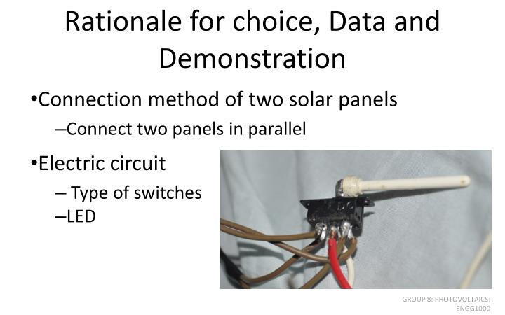 Rationale for choice, Data and Demonstration