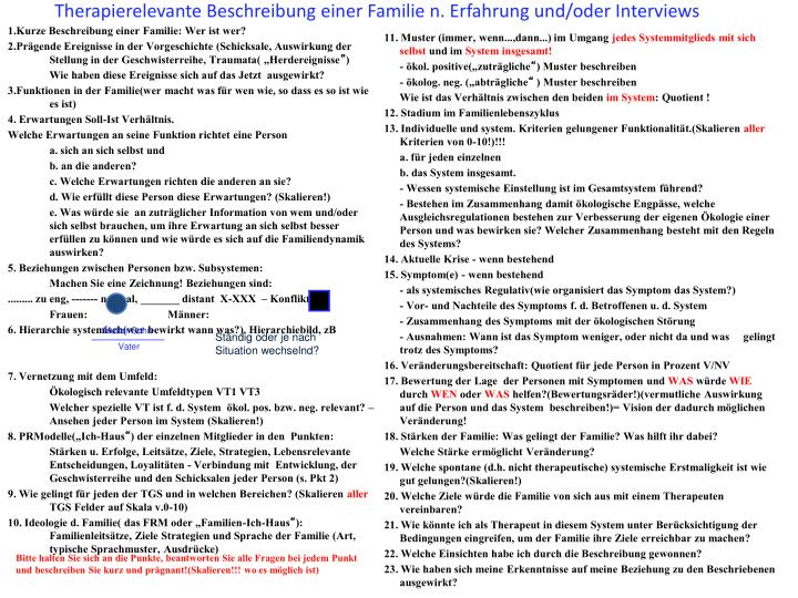 Therapierelevante Beschreibung einer Familie n. Erfahrung und/oder Interviews