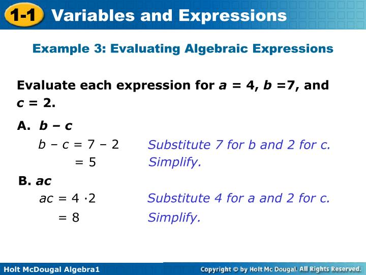 Example 3: Evaluating Algebraic Expressions