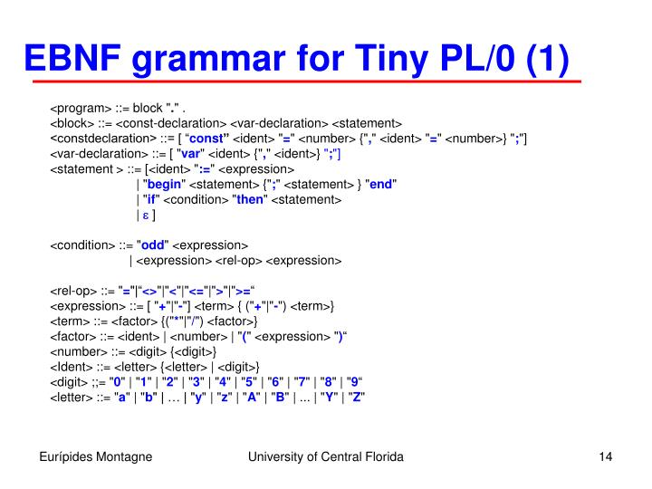 EBNF grammar for Tiny PL/0 (1)