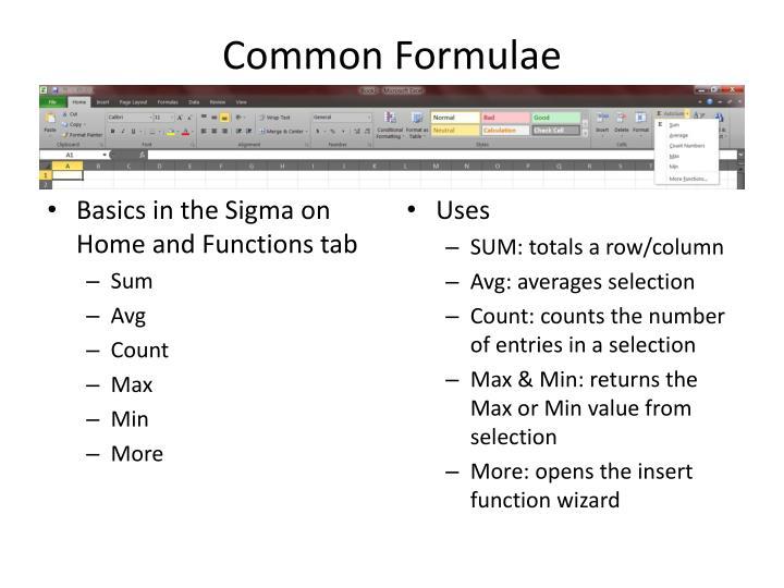 Common Formulae