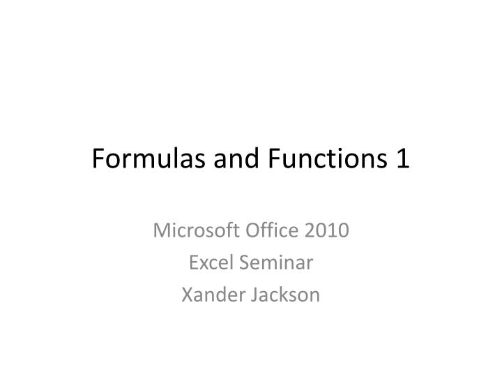 Formulas and functions 1