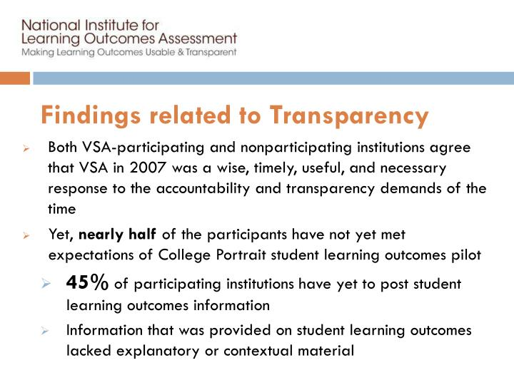 Findings related to Transparency