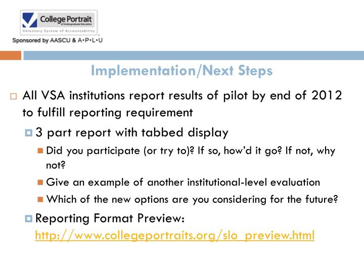 Implementation/Next Steps