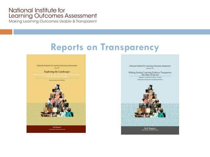 Reports on Transparency