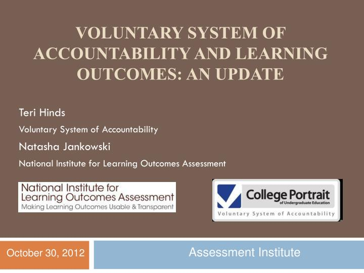 Voluntary system of accountability and learning outcomes an update