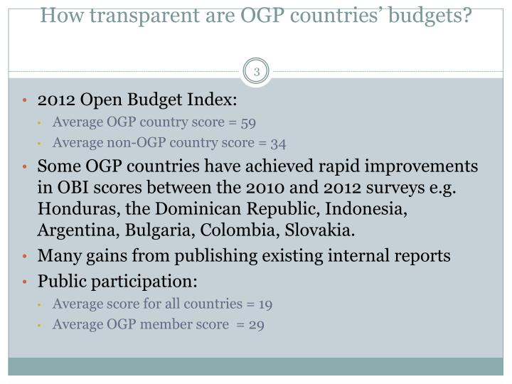 How transparent are OGP countries' budgets?