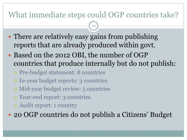 What immediate steps could OGP countries take?