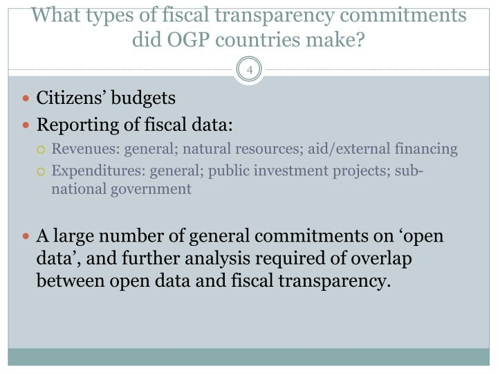 What types of fiscal transparency commitments did OGP countries make?