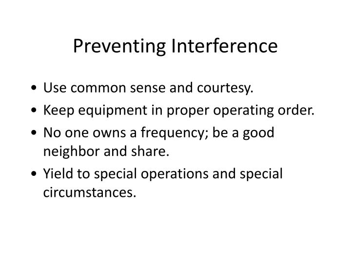 Preventing Interference