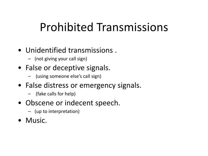 Prohibited Transmissions