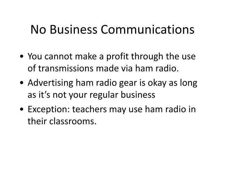 No Business Communications