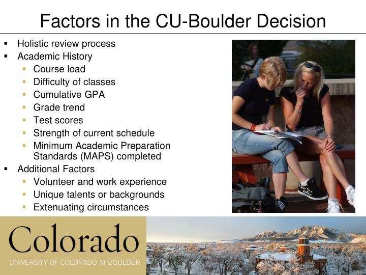 Factors in the CU-Boulder Decision