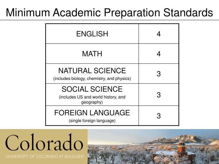 Minimum Academic Preparation Standards