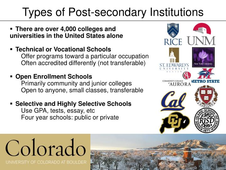 Types of Post-secondary Institutions