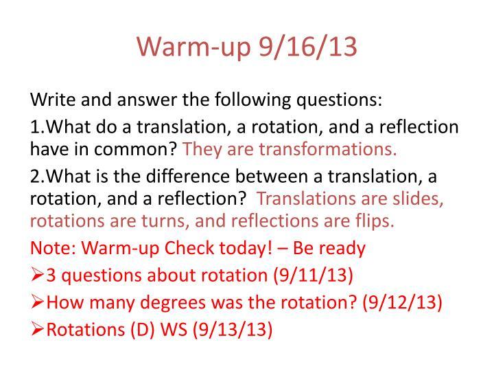 Warm-up 9/16/13