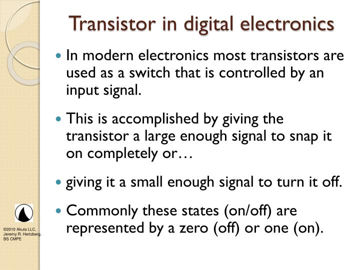 Transistor in digital electronics