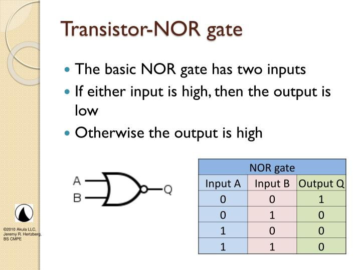 Transistor-NOR gate