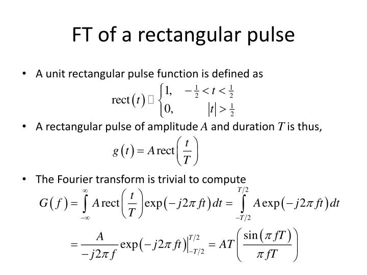 FT of a rectangular pulse