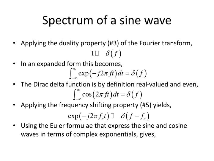 Spectrum of a sine wave