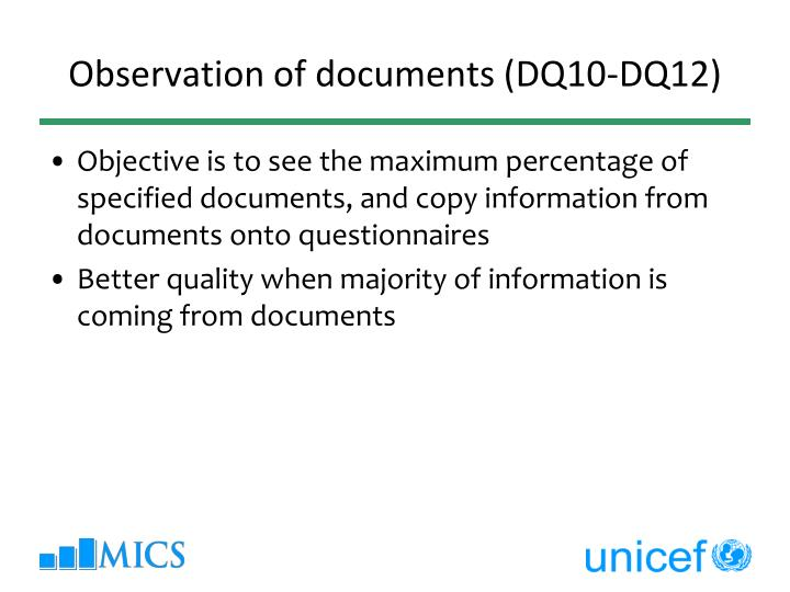 Observation of documents (DQ10-DQ12)